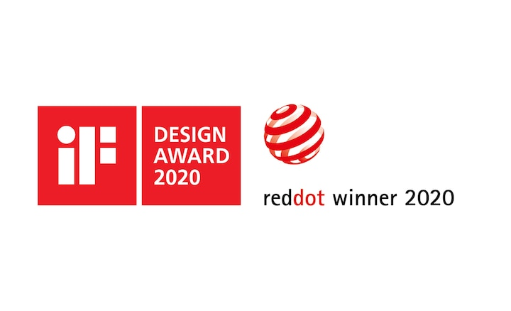 Logotyper för iF Design Award 2020 och Red Dot Winner 2020