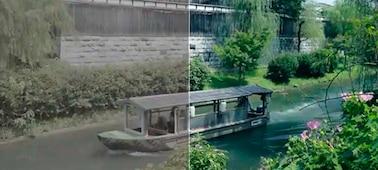 Bild på en båt på en flod med den vänstra sidan av bilden före gradering